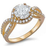 Halo Split Shank Round Yellow Tone, Simulated Cubic Zirconia Engagement Ring 925 Sterling Silver