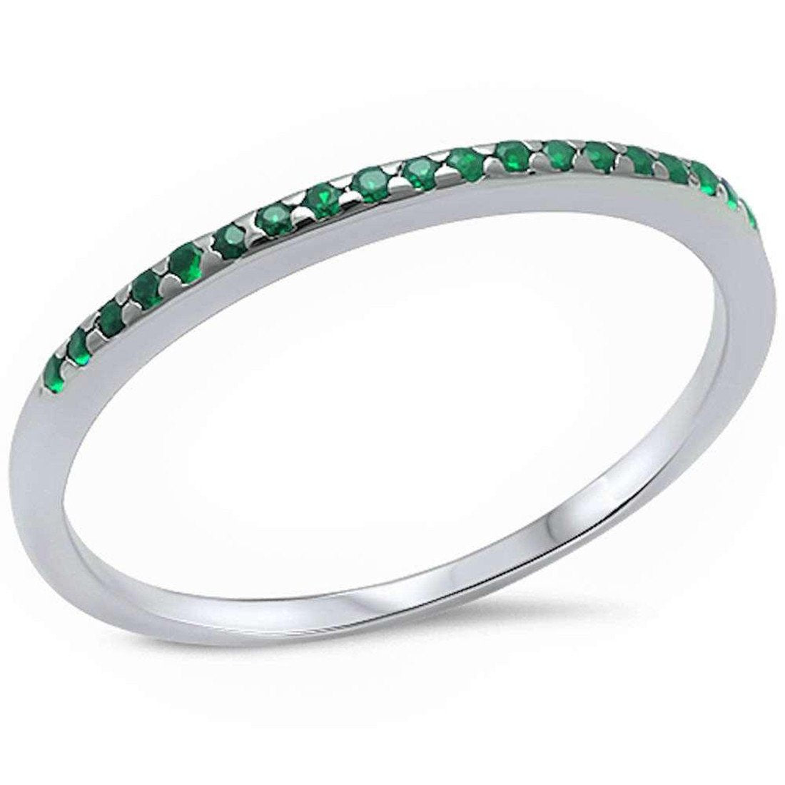 Half Eternity Wedding Band Ring Simulated Green Emerald CZ 925 Sterling Silver