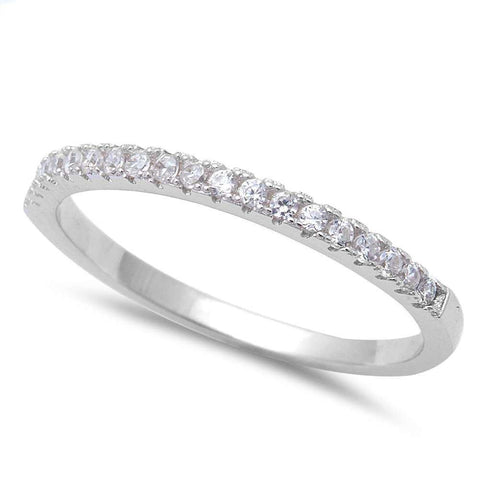 Half Eternity Wedding Band Ring Simulated Clear CZ 925 Sterling Silver