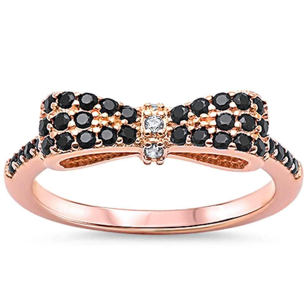 Cute Ribbon Bow Tie Ring Round Rose Tone, Simulated Black CZ 925 Sterling Silver