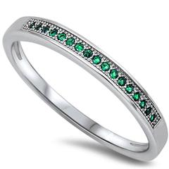 Half Eternity Wedding Ring Simulated Green Emerald Cubic Zirconia 925 Sterling Silver