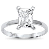 Radiant Cut Solitaire Simulated Cubic Zirconia Engagement Ring 925 Sterling Silver