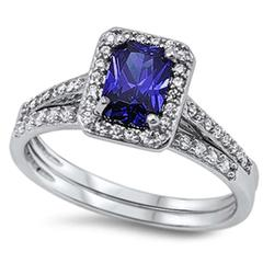 2 Piece Wedding Ring Radiant Cut Simulated Tanzanite Cubic Zirconia 925 Sterling Silver