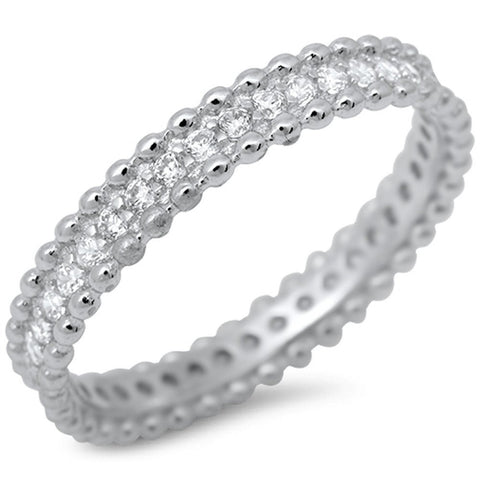 Bali Style Cubic Zirconia Band .925 Sterling Silver Ring Sizes 5-10