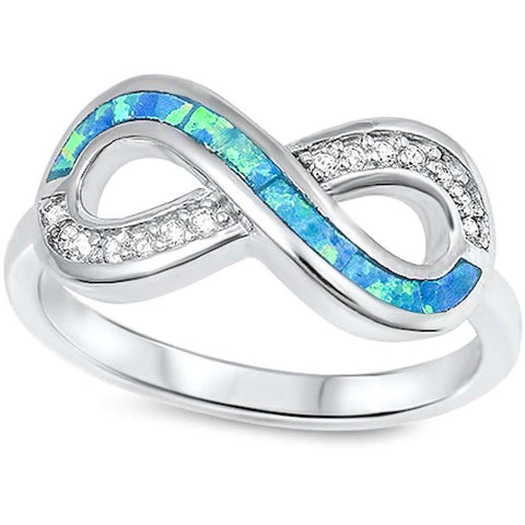 Blue Opal & Cz Infinity .925 Sterling Silver Ring Sizes 5-10