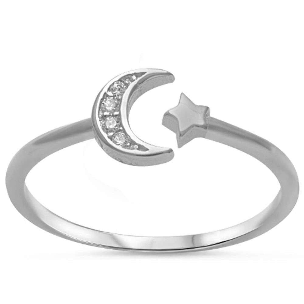 Crescenet Moon & Star Ring Simulated CZ 925 Sterling Silver