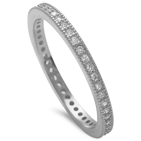 Cz Eternity Band .925 Sterling Silver Ring Sizes 4-10