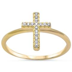 Petite Dainty Cross Ring Round Yellow Tone, Simulated CZ 925 Sterling Silver