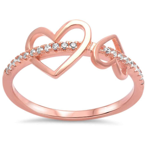 Rose Gold Plated Multi Hearts Cz .925 Sterling Silver Ring Sizes 4-10