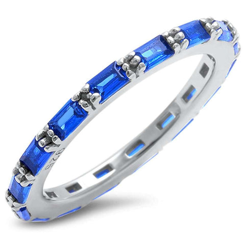 Baguette Blue Sapphire .925 Sterling Silver Eternity Band Sizes 4-12