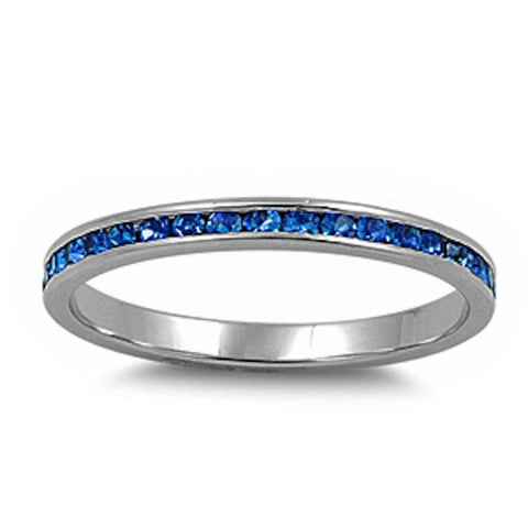 Channel set Blue Sapphire CZ .925 Sterling Silver Eternity Band Sizes 2-12