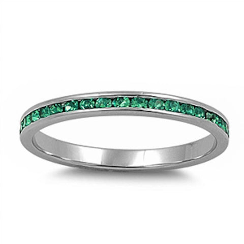 Channel set Green Emerald CZ .925 Sterling Silver Eternity Band Sizes 2-12