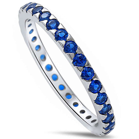 Blue Sapphire Eternity Band .925 Sterling Silver Ring Sizes 4-11
