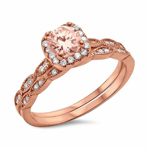 Two Piece Rose Tone, Simulated Morganite CZ Wedding Ring 925 Sterling Silver