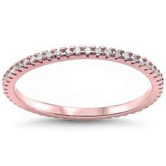 Thin Full Eternity Rose Tone, Simulated CZ Wedding Ring 925 Sterling Silver