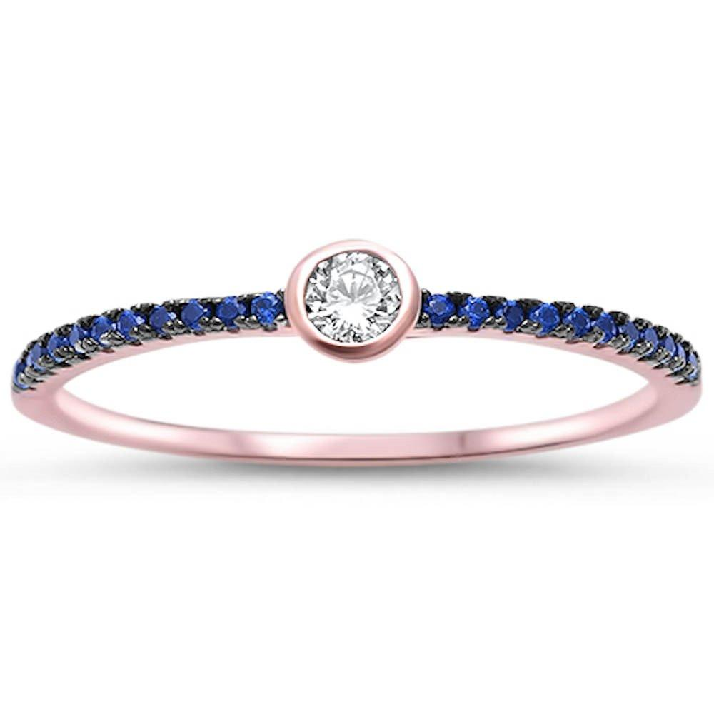 Rose Gold Plated Ring Bezel Simulated Blue Sapphire CZ 925 Sterling Silver