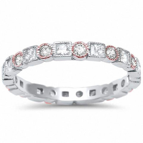 Bezel Set Full Eternity Ring Alternating Two Tone Round Simulated CZ 925 Sterling Silver
