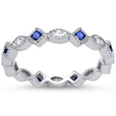 Art Deco Wedding Ring Marquise Simulated Blue Sapphire CZ 925 Sterling Silver