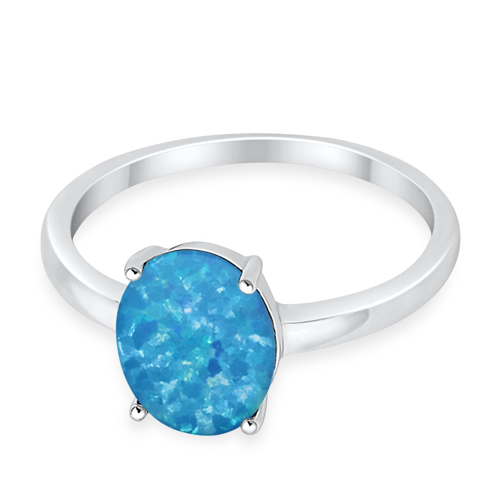 Solitaire Engagement Ring Oval Lab Created Blue Opal 925 Sterling Silver