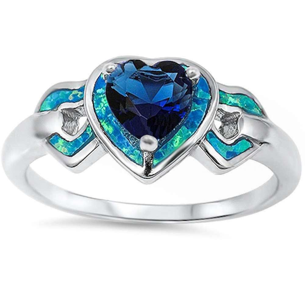 Heart Promise Wedding Ring Simulated Blue Sapphire Simulated Blue Opal 925 Sterling Silver