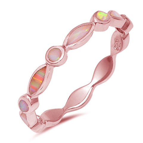 Full Eternity Stackable Band Ring Lab Created Pink Opal All Seeing Eye Rose Gold Rhodium Plated 925 Sterling Silver