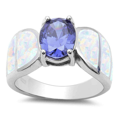Tanzanite & White Opal .925 Sterling Silver Ring Sizes 5-10