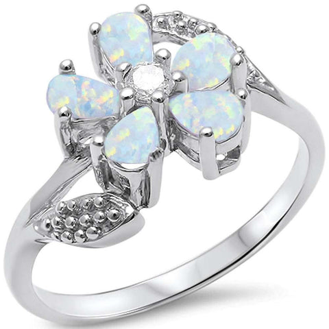 White Opal & Cz Flower .925 Sterling Silver Ring Sizes 5-10