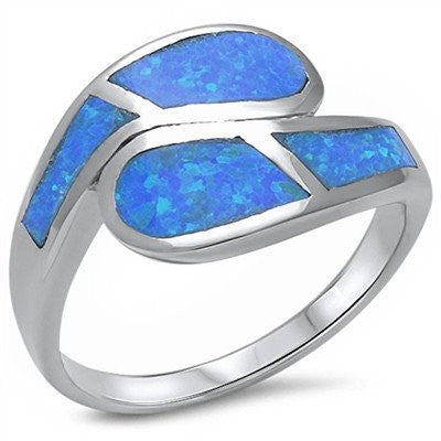 Blue Fire Opal .925 Sterling Silver Fashion Ring Sizes 5-10