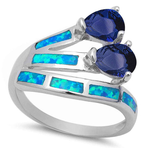 Pear Shape Sapphire & Blue Opal Fashion .925 Sterling Silver Ring Sizes 5-10