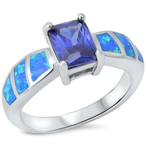 Radiant Tanzanite & Blue Opal .925 Sterling Silver Ring sizes 5-10