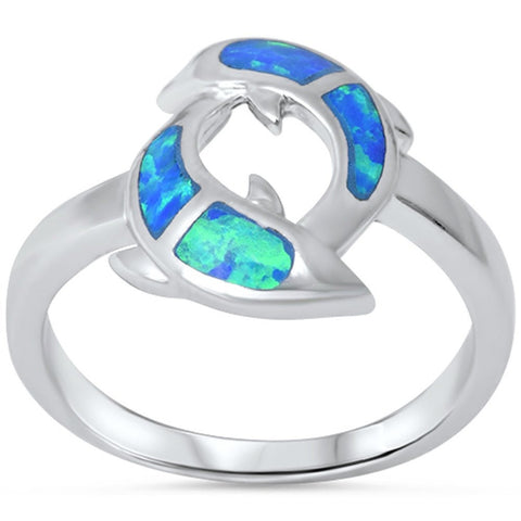 Blue Opal Dolphins .925 Sterling Silver Ring Sizes 6-10