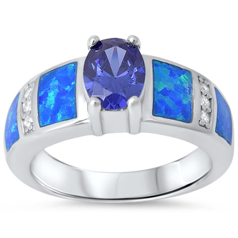 Tanzanite, Blue Opal & Cz .925 Sterling Silver Ring sizes 6-9