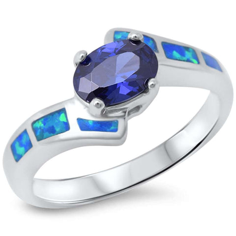 Tanzanite & Blue Opal .925 Sterling Silver Ring sizes 6-9