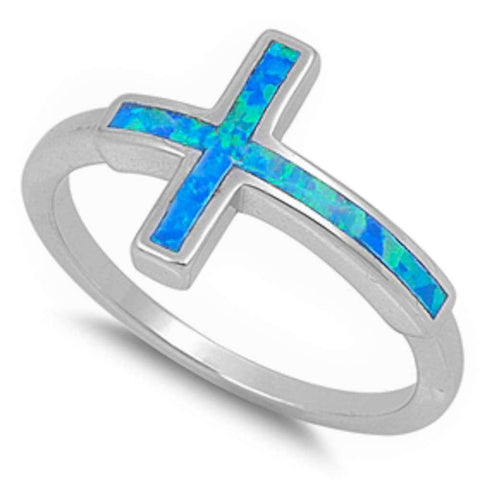 Blue Fire Opal Sideways Cross .925 Sterling Silver Ring Sizes 5-11