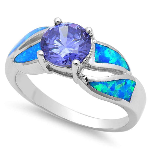 Tanzanite & Blue Opal .925 Sterling Silver Ring 5-10