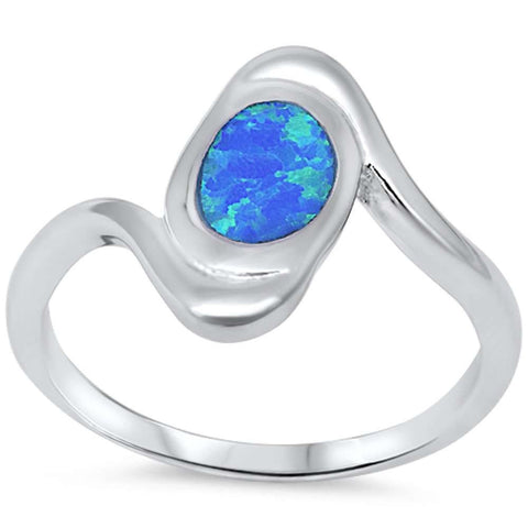 Blue Fire Opal .925 Sterling Silver Ring sizes 6-10