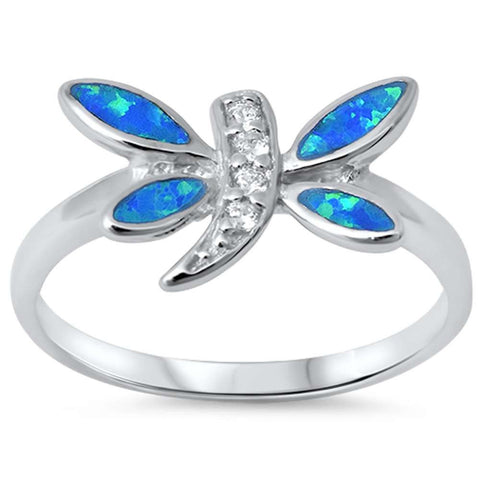 Blue Opal & Cz Dragonfly .925 Sterling Silver Ring sizes 6-9