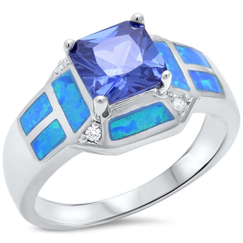 Princess Cut Tanzanite, Blue Opal & Cz .925 Sterling Silver Ring sizes 6-10