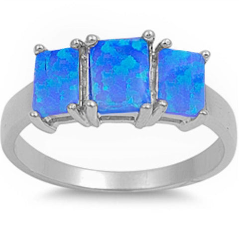 3 Blue Fire Opal .925 Sterling Silver Ring sizes 6-10
