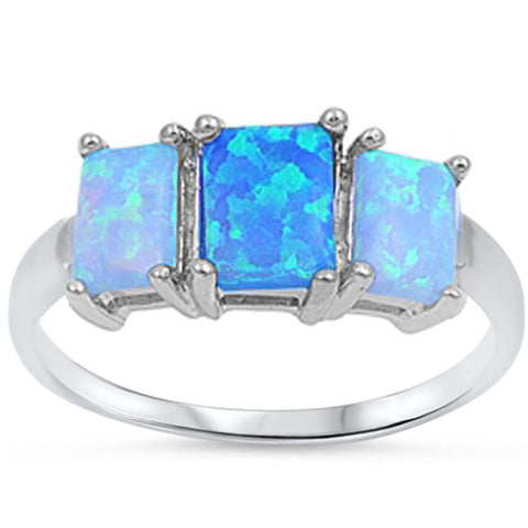 Blue Fire Opal Three-stone Ring .925 Sterling Silver Sizes 4-11