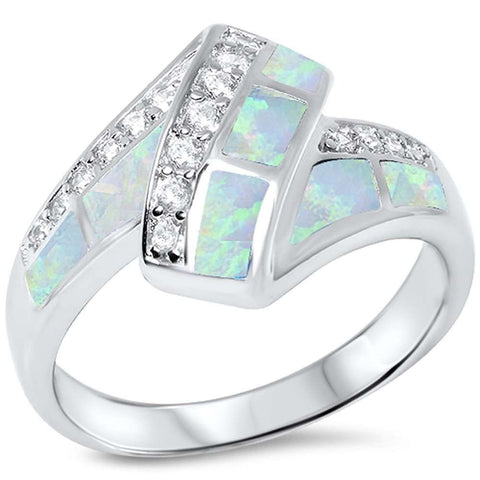 White Opal & Cz .925 Sterling Silver Ring sizes 5-11
