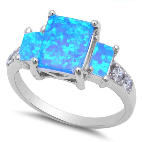 Radiant Cut Blue Opal & Cz .925 Sterling Silver Ring sizes 6-9