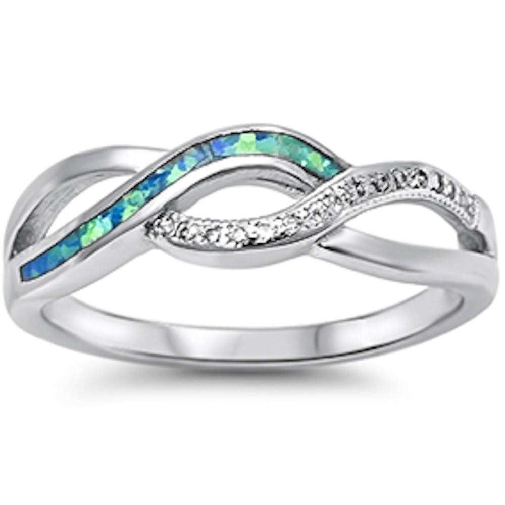 Crisscross Infinity Ring Lab Blue Opal Round Cubic Zirconia 925 Sterling Silver