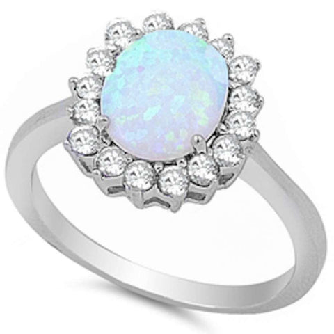 Oval White Fire Opal & Cubic Zirconia.925 Sterling Silver Ring Sizes 5-10