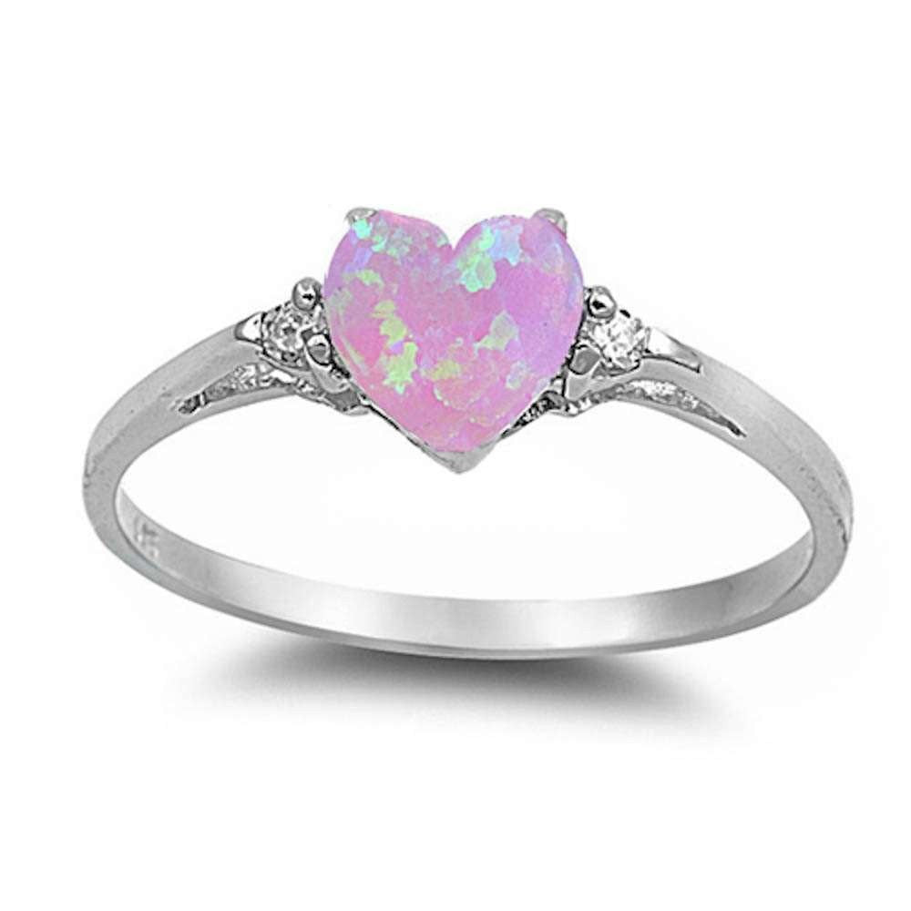 Pink Opal Heart & Cz .925 Sterling Silver Ring Sizes 4-12