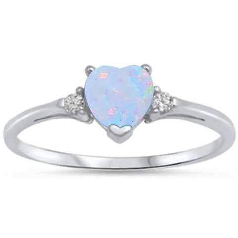White Opal Heart & Cz .925 Sterling Silver Ring sizes 3-12