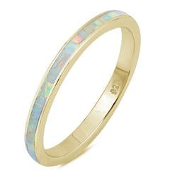 Stackable Yellow Tone, Lab White Opal Wedding Band Ring 925 Sterling Silver