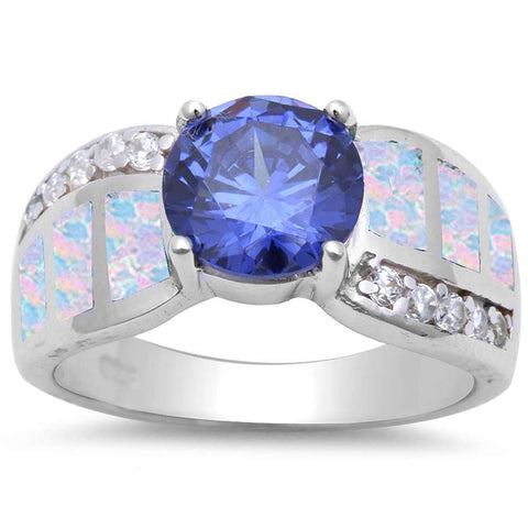 Round Tanzanite, Cz & White Opal .925 Sterling Silver Ring sizes 6-9