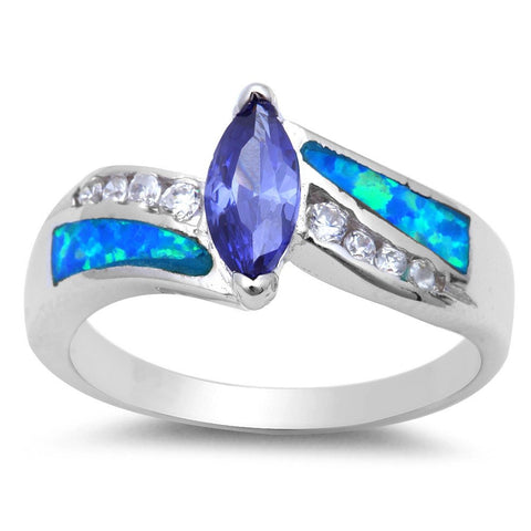 .925 Sterling Silver Marquise Tanzanite, Blue Opal & Cz Ring Sizes 5-10