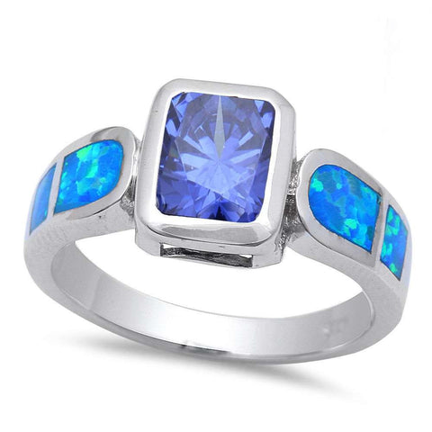 Tanzanite & Blue Opal .925 Sterling Silver Ring sizes 6-10